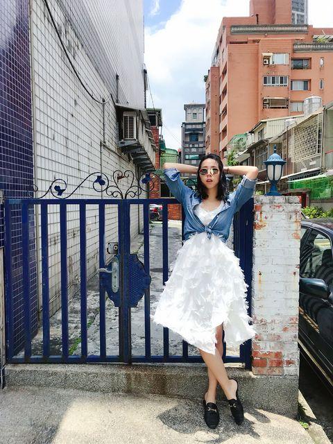White, Photograph, Clothing, Blue, Dress, Shoulder, Street fashion, Fashion, Beauty, Snapshot,