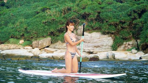 Stand up paddle surfing, Water, Surface water sports, Fun, Summer, Vacation, Recreation, Leisure, Bikini, Surfing,