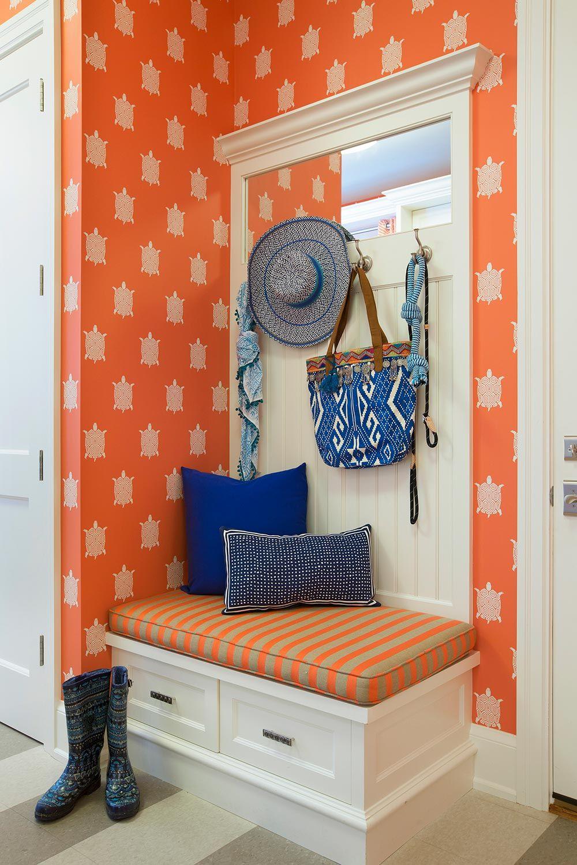 bold wallpaper mudroom