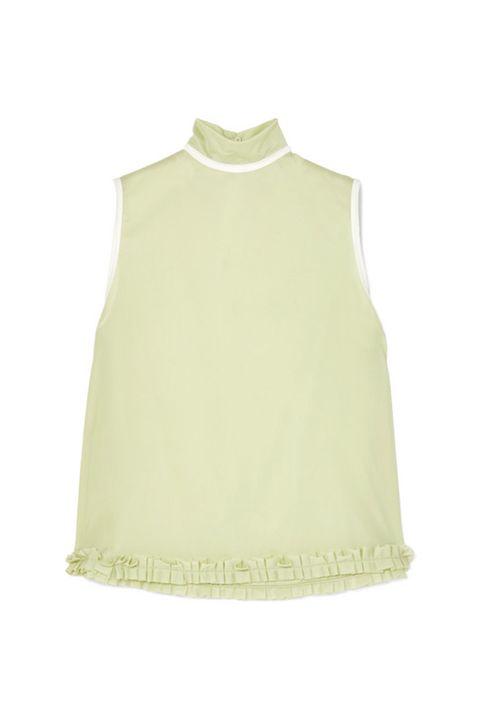 Clothing, White, Green, Yellow, Sleeveless shirt, Outerwear, Sleeve, Beige, Neck, Blouse,