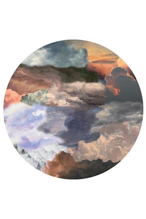 Sky, Cloud, Atmospheric phenomenon, Atmosphere, Meteorological phenomenon, Rock, Watercolor paint, Geological phenomenon, Plate, Circle,