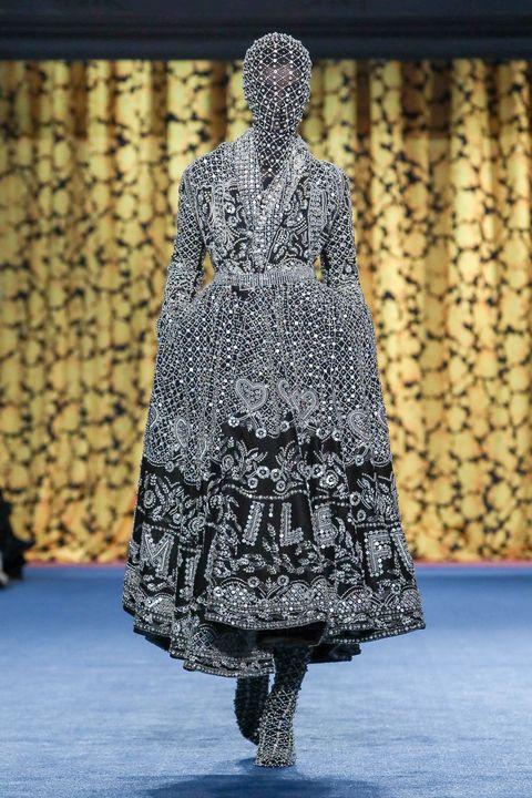 Fashion, Clothing, Fashion design, Fashion show, Runway, Dress, Haute couture, Outerwear, Fashion model, Pattern,