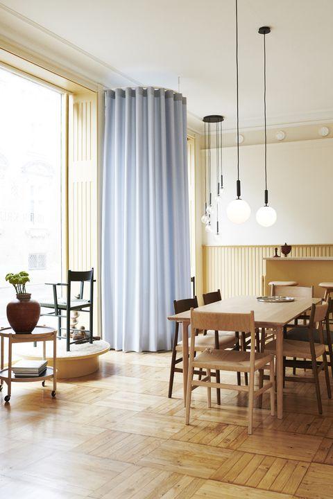 Interior design, Room, Floor, Furniture, Curtain, Property, Wood flooring, Laminate flooring, Living room, Flooring,