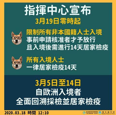 入境台灣一律居家檢疫14天