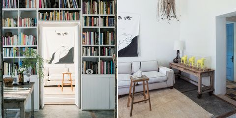 Furniture, Room, Shelf, Interior design, Shelving, Living room, Property, Bookcase, Building, Home,
