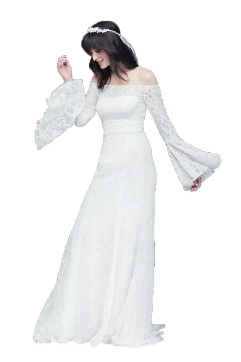 White, Gown, Clothing, Dress, Wedding dress, Bridal accessory, Veil, Bride, Bridal clothing, Shoulder,