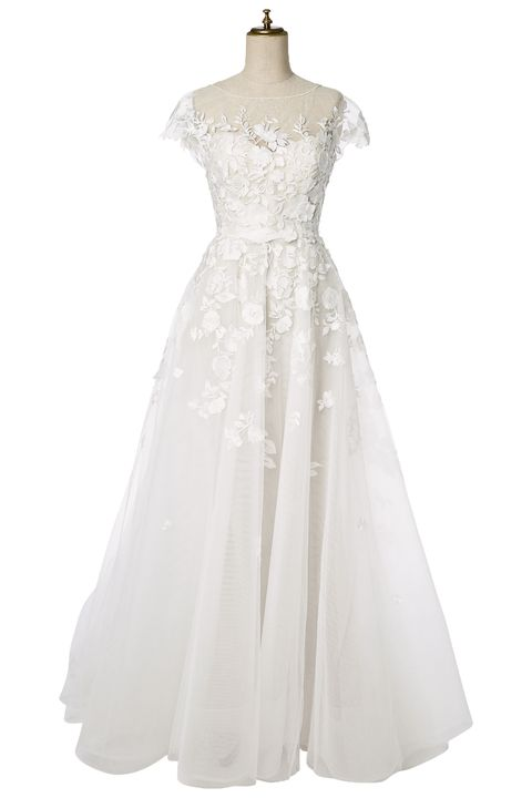 Clothing, Dress, Sleeve, Shoulder, Textile, Standing, White, Gown, One-piece garment, Formal wear,
