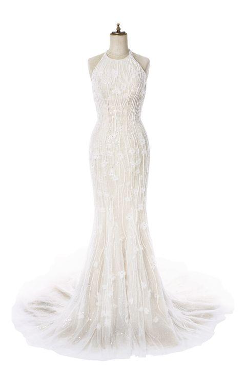 Dress, White, One-piece garment, Wedding dress, Formal wear, Gown, Neck, Embellishment, Day dress, Ivory,