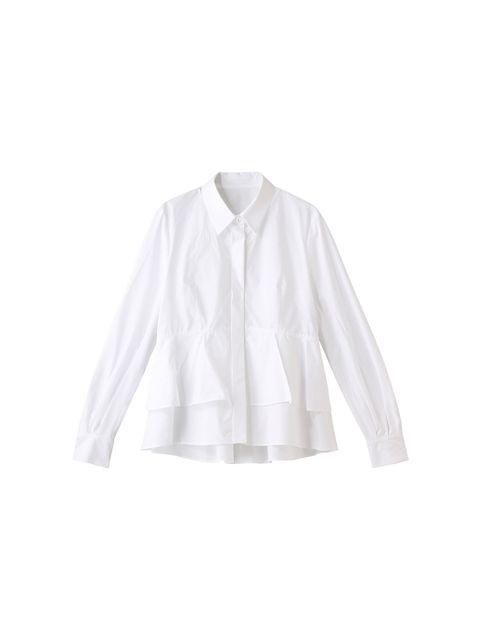 着こなしが華やぐ、上品キュートな白シャツ