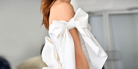 White, Clothing, Dress, Shoulder, Formal wear, Outerwear, Gown, Neck, Long hair, Photo shoot,