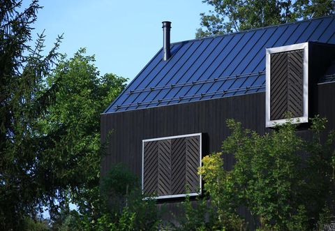 Roof, House, Property, Architecture, Building, Solar energy, Shed, Technology, Real estate, Tree,