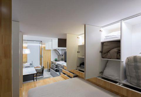 Interior design, Room, Property, Floor, Wall, Ceiling, Fixture, Bed, Apartment, Linens,