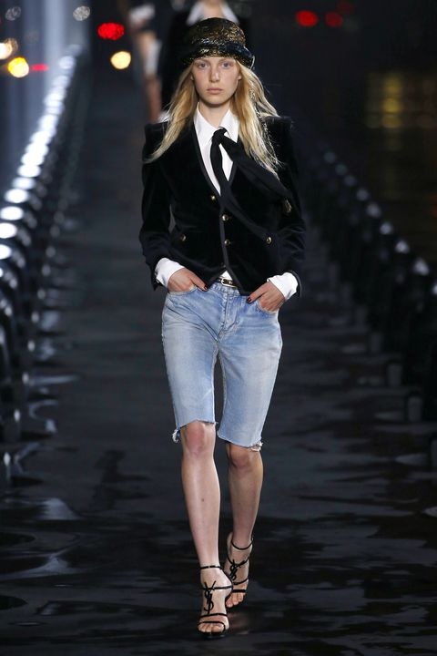 Fashion model, Fashion show, Fashion, Runway, Clothing, White, Denim, Street fashion, Waist, Jeans,