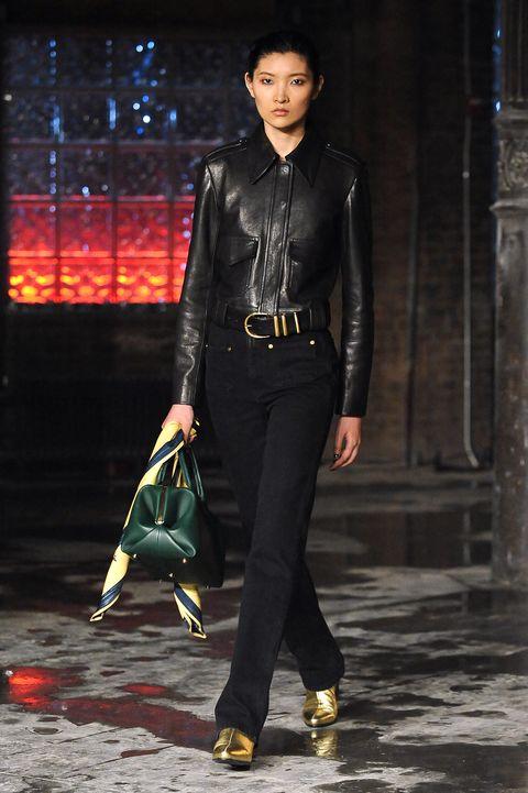Clothing, Fashion, Leather jacket, Leather, Jacket, Fashion model, Footwear, Human, Street fashion, Textile,