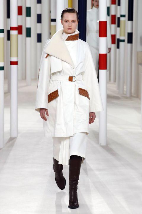 Fashion, White, Clothing, Uniform, Runway, Outerwear, Fashion design, Haute couture,