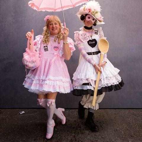 Pink, Clothing, Fashion, Costume, Costume design, Dress, Cosplay, Fashion design, Performance, Child,
