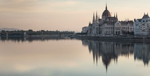 Reflection, Water, Landmark, Sky, River, Architecture, City, Morning, Building, Waterway,