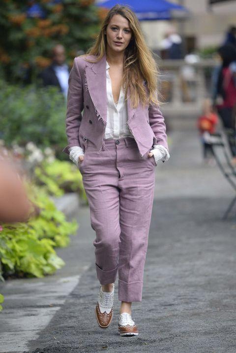 Clothing, Fashion, Street fashion, Pink, Blazer, Outerwear, Fashion model, Jacket, Jeans, Pantsuit,
