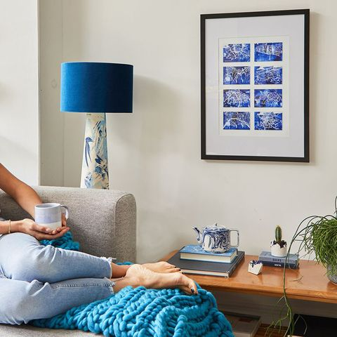 Blue, Room, Furniture, Turquoise, Living room, Cobalt blue, Interior design, Azure, Wall, Home,