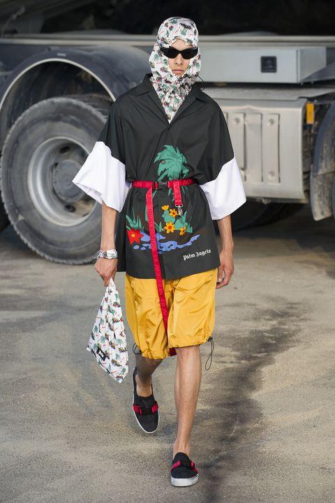 Fashion, Street fashion, Yellow, T-shirt, Human, Summer, Footwear, Headgear, Vehicle, Shoe,
