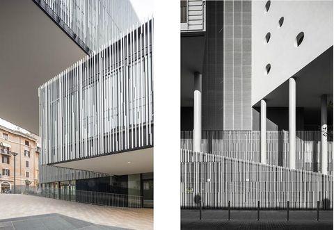 Architecture, Facade, Line, Commercial building, Real estate, Parallel, Urban design, Composite material, Design, Headquarters,