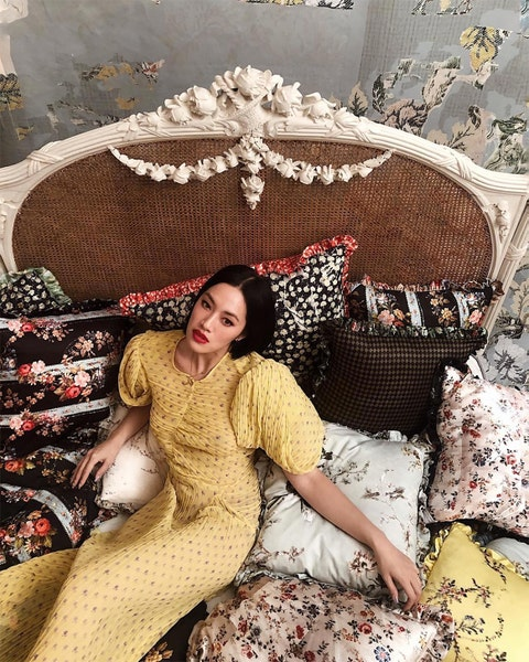 Beauty, Fashion, Photo shoot, Textile, Dress, Lace, Room, Long hair, Furniture, Fashion design,