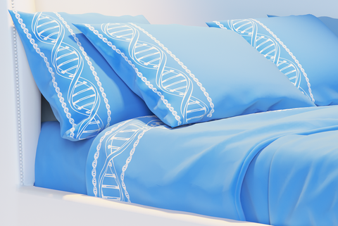 blue pillow and bedsheets with dna helix print
