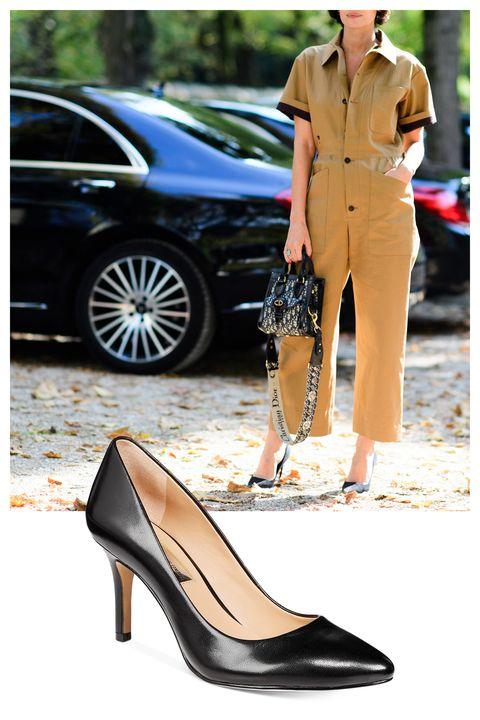 Footwear, High heels, Black, Shoe, Leg, Court shoe, Fashion, Basic pump, Dress, Street fashion,