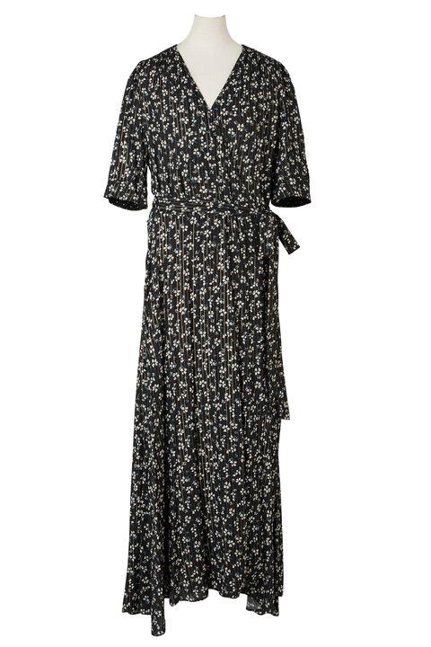 Clothing, Day dress, Dress, Black, Sleeve, Gown, Pattern, Neck, Pattern, Robe,