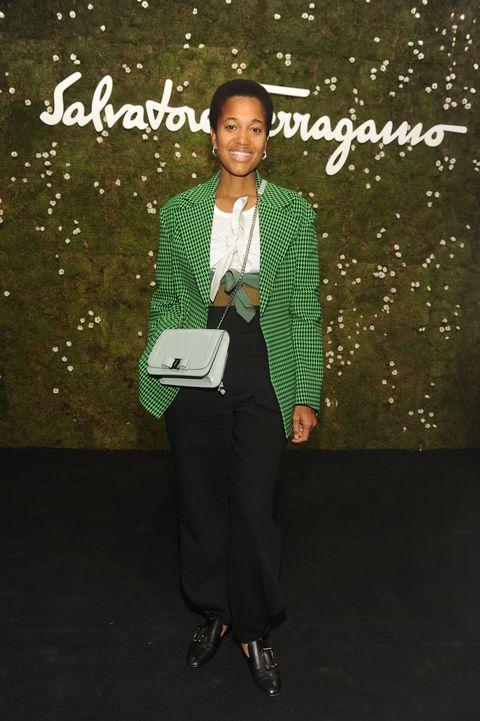 Green, Suit, Formal wear, Fashion, Tuxedo, Pantsuit, Public speaking, Style, Fashion design, Blazer,