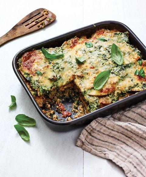 cheesy eggplant-spinach casserole