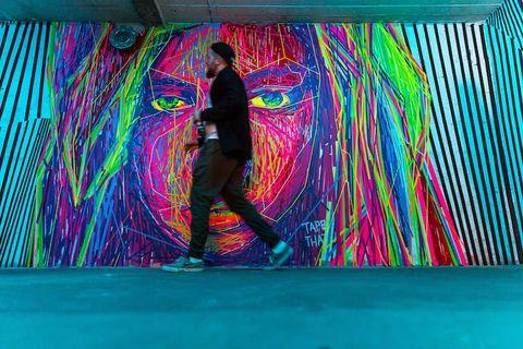 Blue, Art, Magenta, Fun, Painting, Graffiti, Textile, Mural, Visual arts, Psychedelic art,
