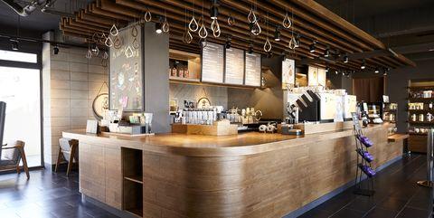 Building, Interior design, Property, Room, Lighting, Furniture, Ceiling, Architecture, Restaurant, Countertop,