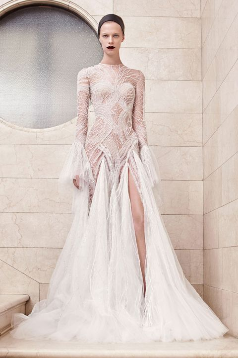Fashion model, Clothing, Gown, Dress, Wedding dress, Shoulder, Bridal party dress, Bridal clothing, Haute couture, Fashion,