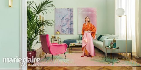 Furniture, Pink, Room, Yellow, Chair, Peach, Interior design, Sitting, Magenta, Couch,