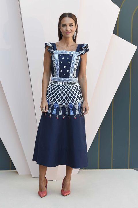 Clothing, Fashion model, Dress, Blue, Day dress, Fashion, Shoulder, Cocktail dress, Footwear, One-piece garment,