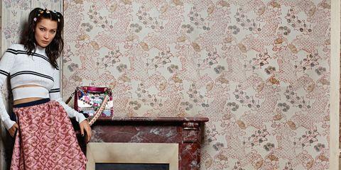 Textile, Wall, Interior design, Bag, Pattern, Fashion accessory, Headpiece, Street fashion, Interior design, Hair accessory,