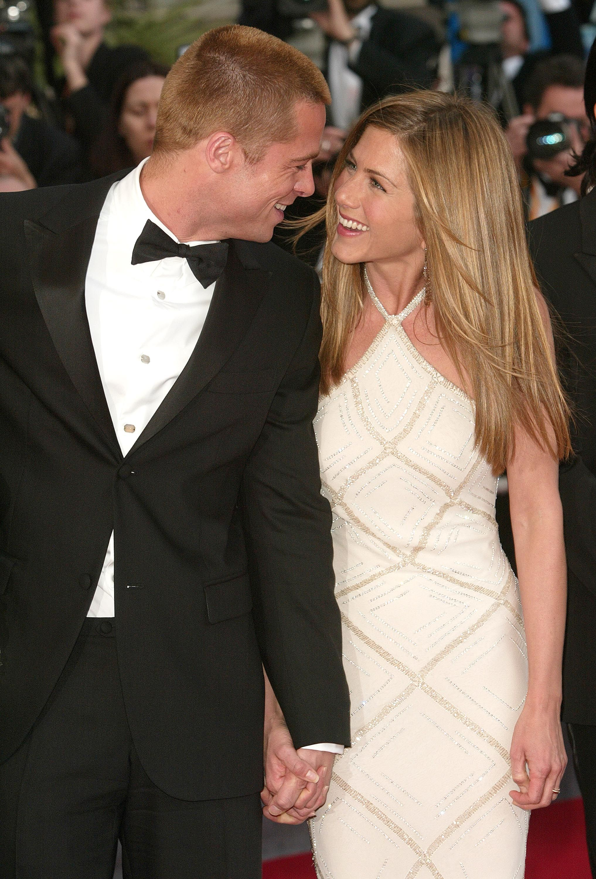 Jennifer Aniston and Brad Pitt Everyone is desperate to set Aniston up, it seems. In 1998 , her and Pitt's agents set them up on a blind date that led to a seven-year relationship.