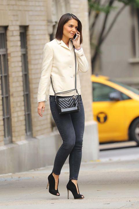 Clothing, White, Street fashion, Photograph, Yellow, Jeans, Outerwear, Snapshot, Fashion, Blazer,
