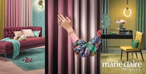 Curtain, Room, Interior design, Product, Pink, Leg, Furniture, Finger, Textile, Window treatment,