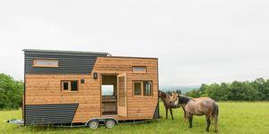 Mini casa con techo retráctil