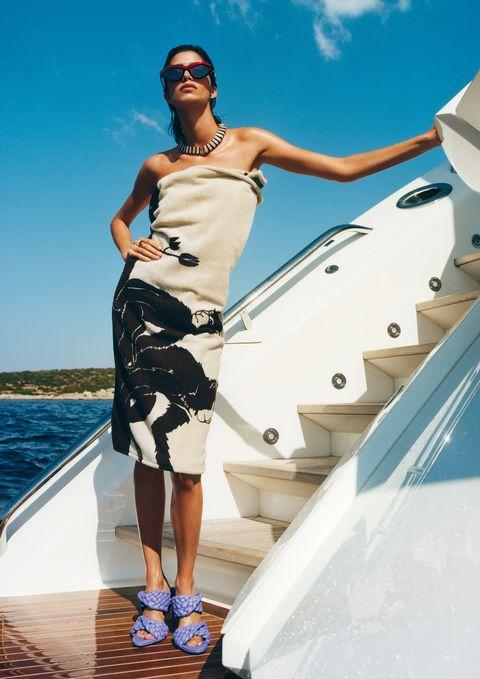 White, Luxury yacht, Yacht, Fashion, Boat, Vacation, Summer, Vehicle, Dress, Leisure,