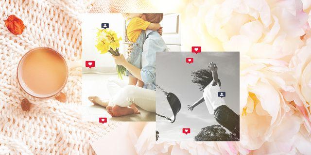 mom influencers flowers girl on swing coffee