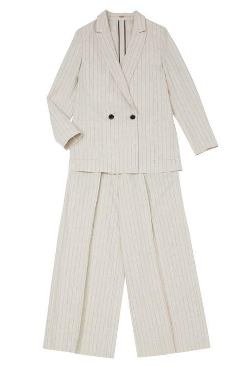 Clothing, Outerwear, Suit, Sleeve, Beige, Formal wear, Coat, Trousers, Uniform, Button,