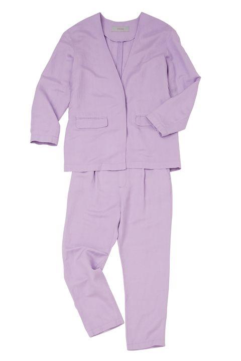 Clothing, Martial arts uniform, Purple, Pink, Product, Violet, Pajamas, Outerwear, Sleeve, Suit,