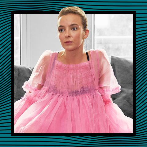 jodie comer in season 1 of killing eve, wearing a pink molly goddard dress