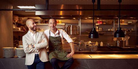 Restaurant manager Nicola Gaballo en Chef Luca De Santis