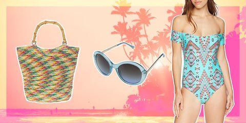 Clothing, Shoulder, Turquoise, Dress, Summer, Neck, Pattern, Swimwear, Footwear, Sleeveless shirt,