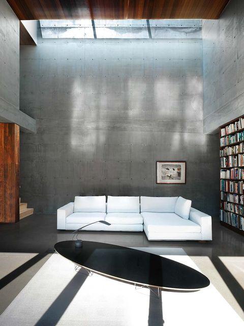 vista del salón en blanco y gris