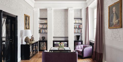 Living room, Room, Furniture, Interior design, Building, Property, Ceiling, Wall, Purple, Home,